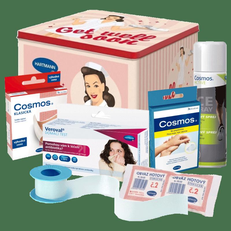 Lékárnička obsahující základní produkty potřebné k základnímu ošetření drobných poranění