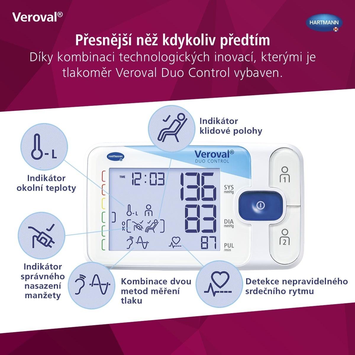 Bohaté funkce měřiče krevního tlaku Veroval duo control