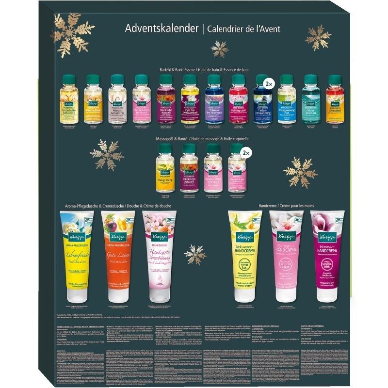 Kneipp® Adventní kalendář pro dospělé s 24 voňavými dárečky proi snadné vánoční přípravy bez stresu.