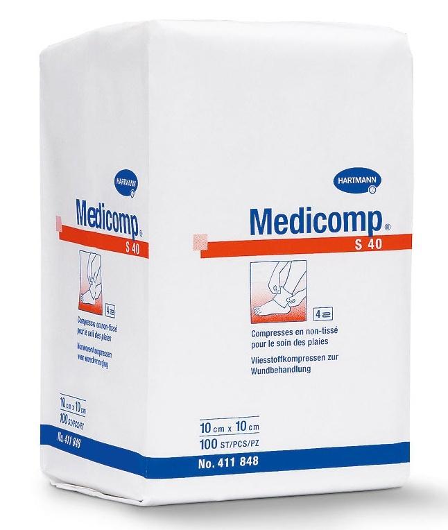 Nesterilní kompres Medicomp z netkaného textilu 10 × 10 cm 100 ks
