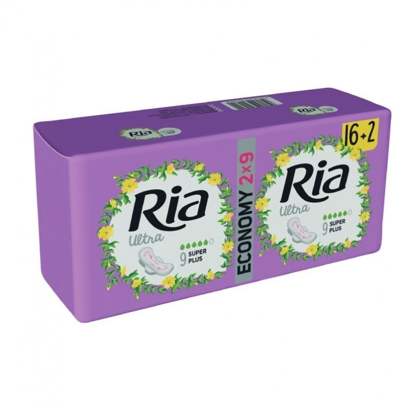 Dámské vložky Ria Ultra Super Plus 18 Duopack - s křidélky, delší